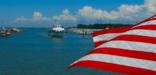 The Star-Spangled Banner flying over Tangier Island, VA.