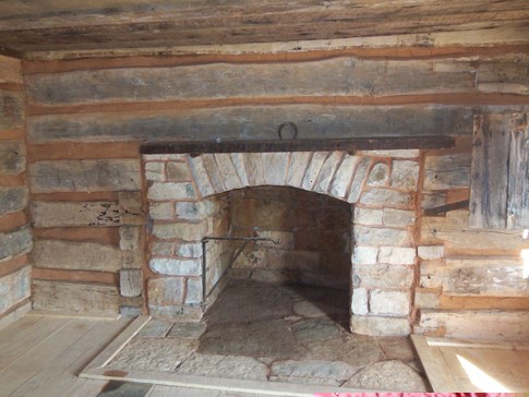 Restored fireplace in the Knob Creek Cabin