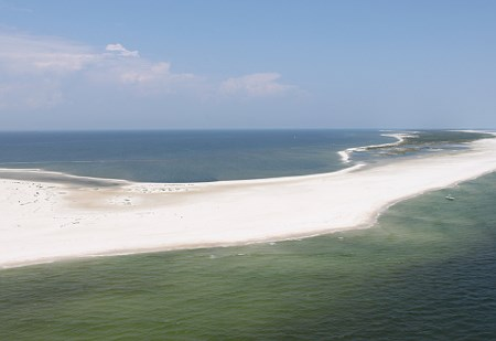Aerial view of beach at Gulf Islands National Seashore