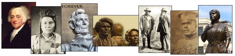 images of leaders including John Adams, Abraham Lincoln, Frederick Douglass, Charles Young, Maggie Walker