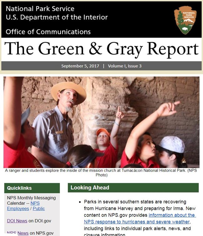 screen capture of title bar and top photo of the Green & Gray Report
