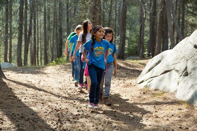 A group of young girls are walking on a trail through trees in Yosemite National Park