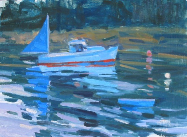 Oil painting of a sailboat. Mostly shades of blue, large brushstrokes used in impressionist style