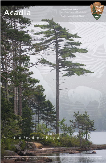Composite image of tall pines along a shoreline in foreground with a watermark of the NPS arrowhead behind