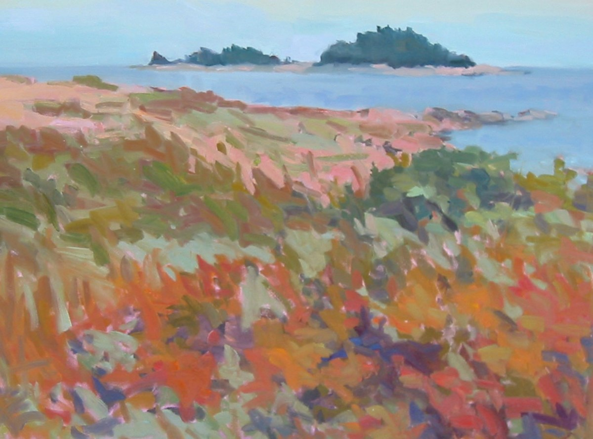 Oil painting of the shoreline with islands in the distance. Impressionist style used with broad brushstrokes and a wide range of colors from dark browns to light pink.