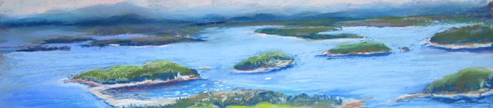 Painting of coastal islands viewed from a mountain summit