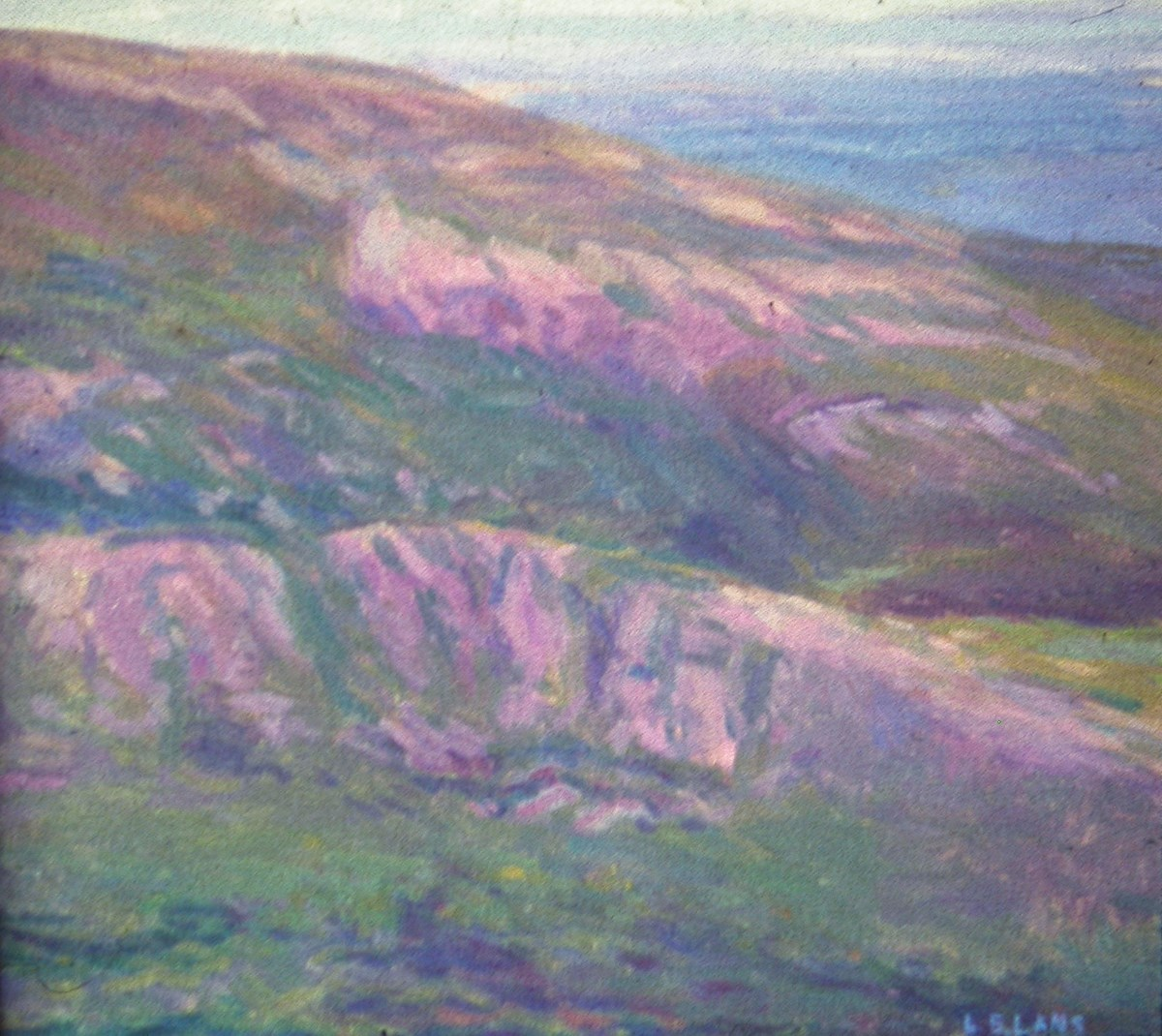 Oil Painting of the Bubbles. Mostly pinks, Blues, and Greens used. Image is of a landscape looking towards the ocean with sloping land in the foreground.