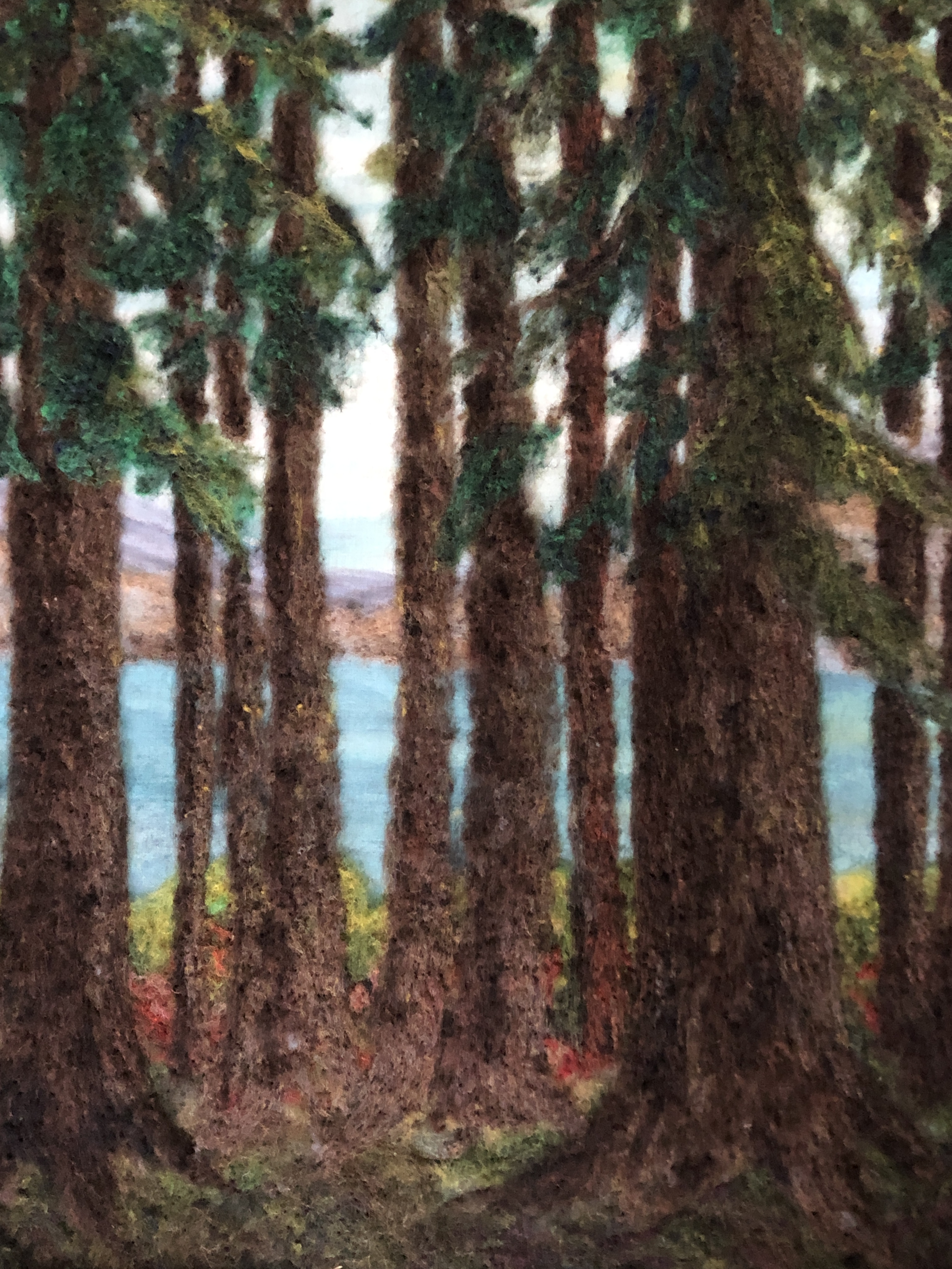 Felt rendering of forest scene with water in the background.