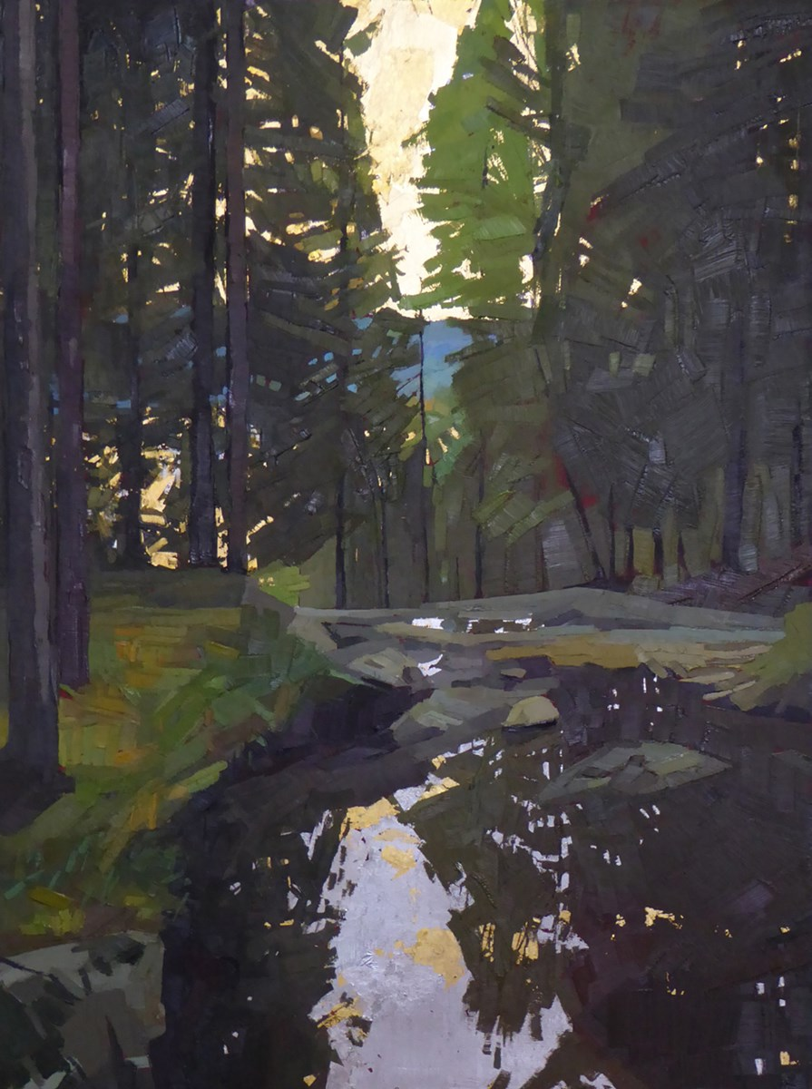 Painting of a creek with reflection of trees and falling light