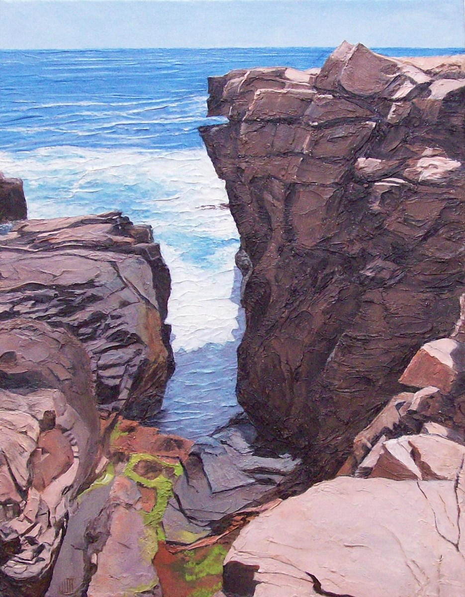 Sculptural Acrylic Painting of Thunder Hole. Large cliffs with ocean in the background.