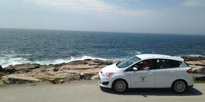 Electric car at Schoodic Point.