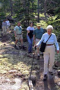 People hike on a trail in single file.