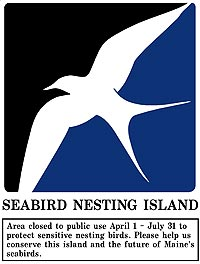 Seabird Nesting Island closure sign