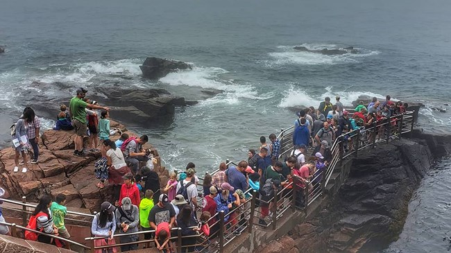 Crowds of visitors stand shoulder to shoulder within railings at Thunder Hole