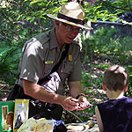 Park ranger talking to child