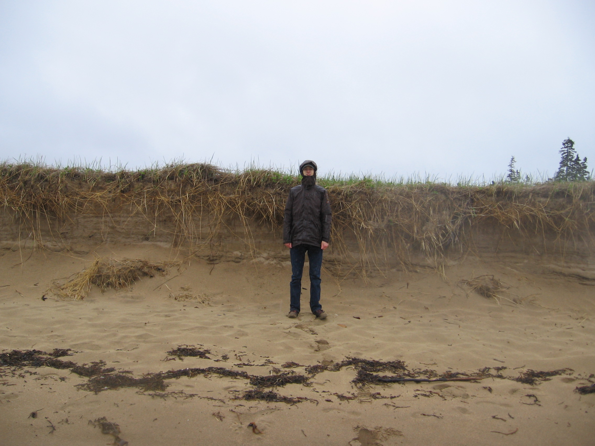 person standing beneath the sand berm for height reference.