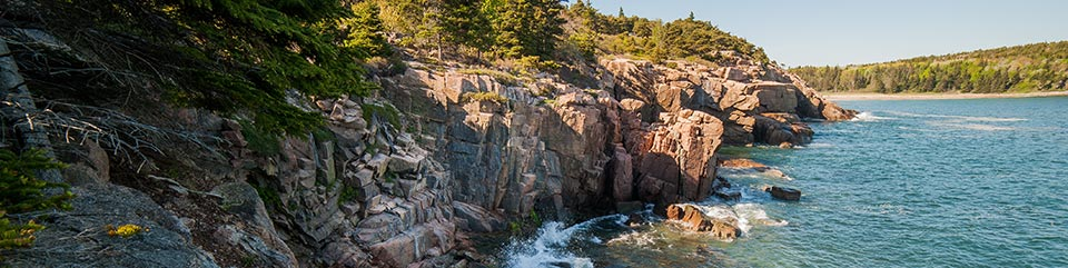 The rocky coastline of Acadia.