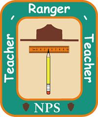 Logo with ranger hat, pencil, ruler, and text:
