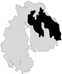 Mount Desert Island silhouette shows area that burned in the Fire of 1947.