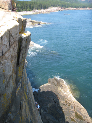 Cliff climbing at Otter Cliffs.