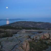 Moon rising over Cadillac Mountain