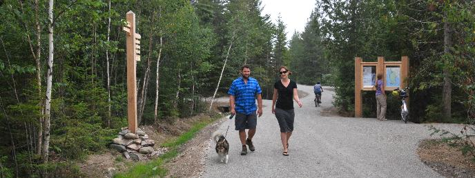 Hikers and bikers using the new bike paths in and around Schoodic Woods Campground.