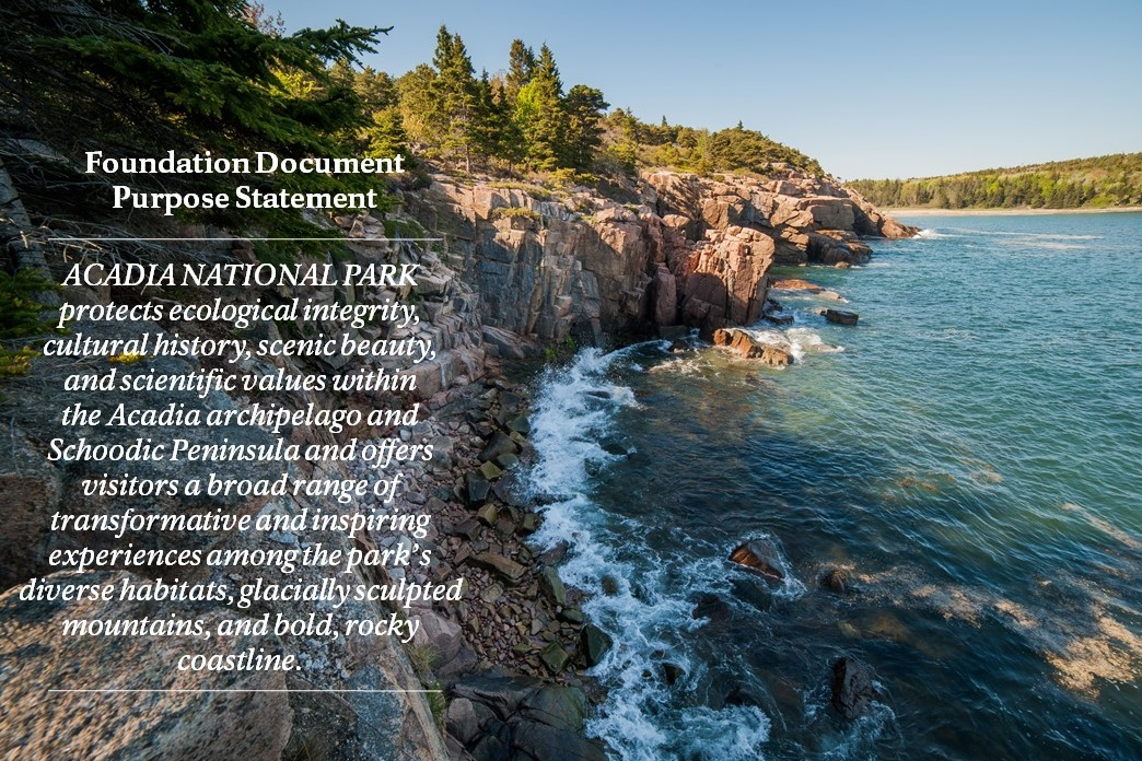 Foundation document statement appears over an image of park coastline
