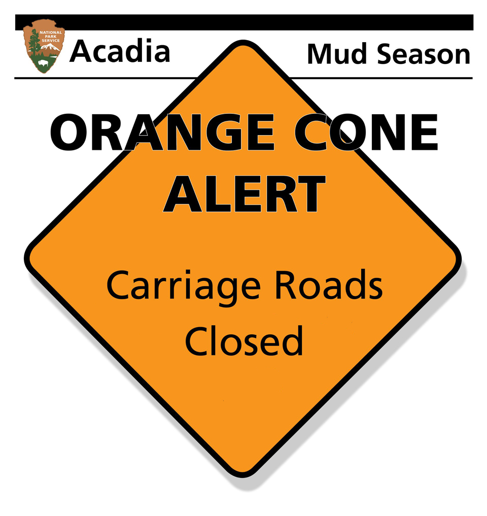 Graphic for mud season closure of Acadia carriage roads