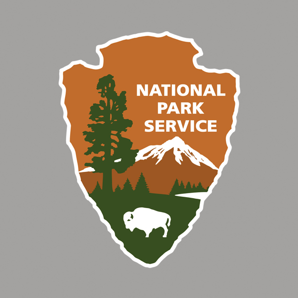 NPS arrowhead with a silver background