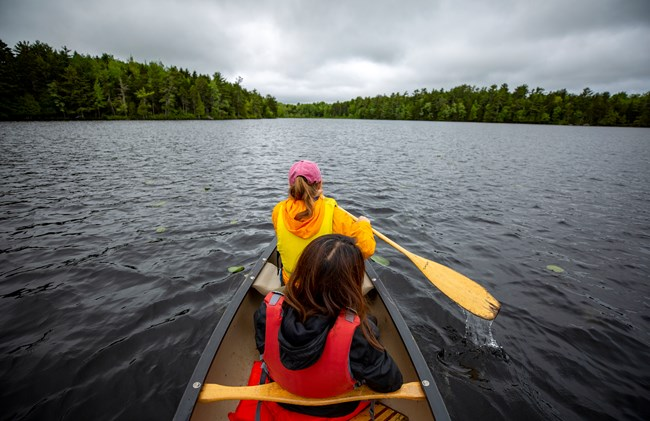 Person wearing a life vest while paddling a canoe