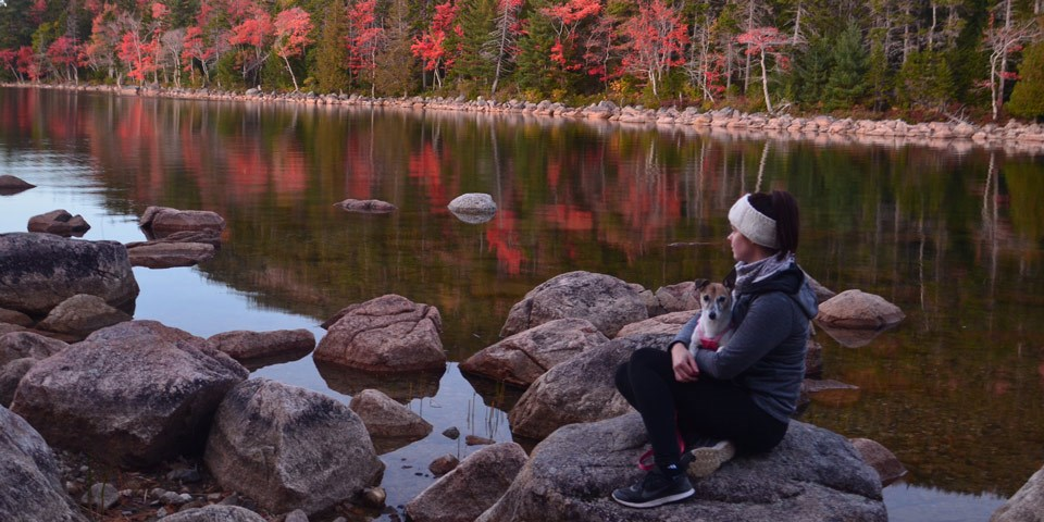 Woman and dog sit on rocks by pond with trees in fall colors in distance
