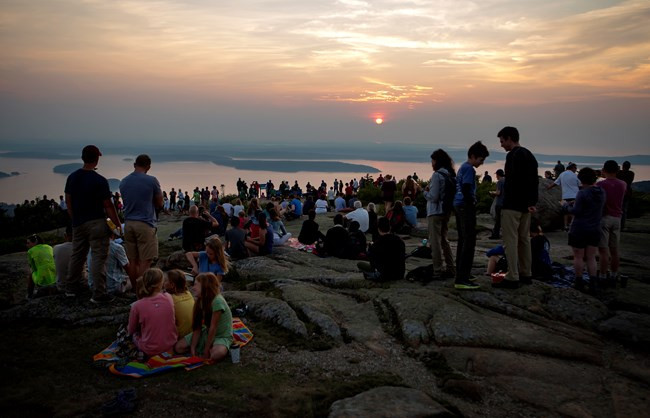 Crowd on top of mountain for sunrise