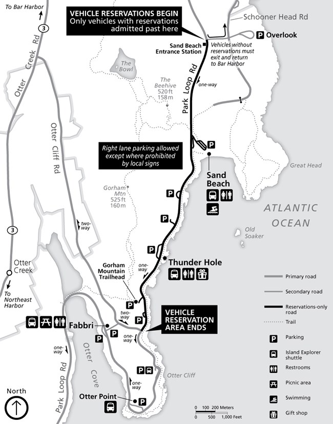 Map of Sand Beach Entrance Vehicle Reservation Area