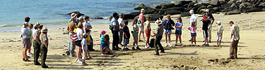 A park ranger presents a program to a group of visitors on Sand Beach.