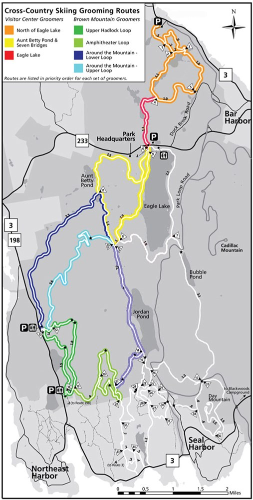 Map of ski trails groomed by Friends of Acadia