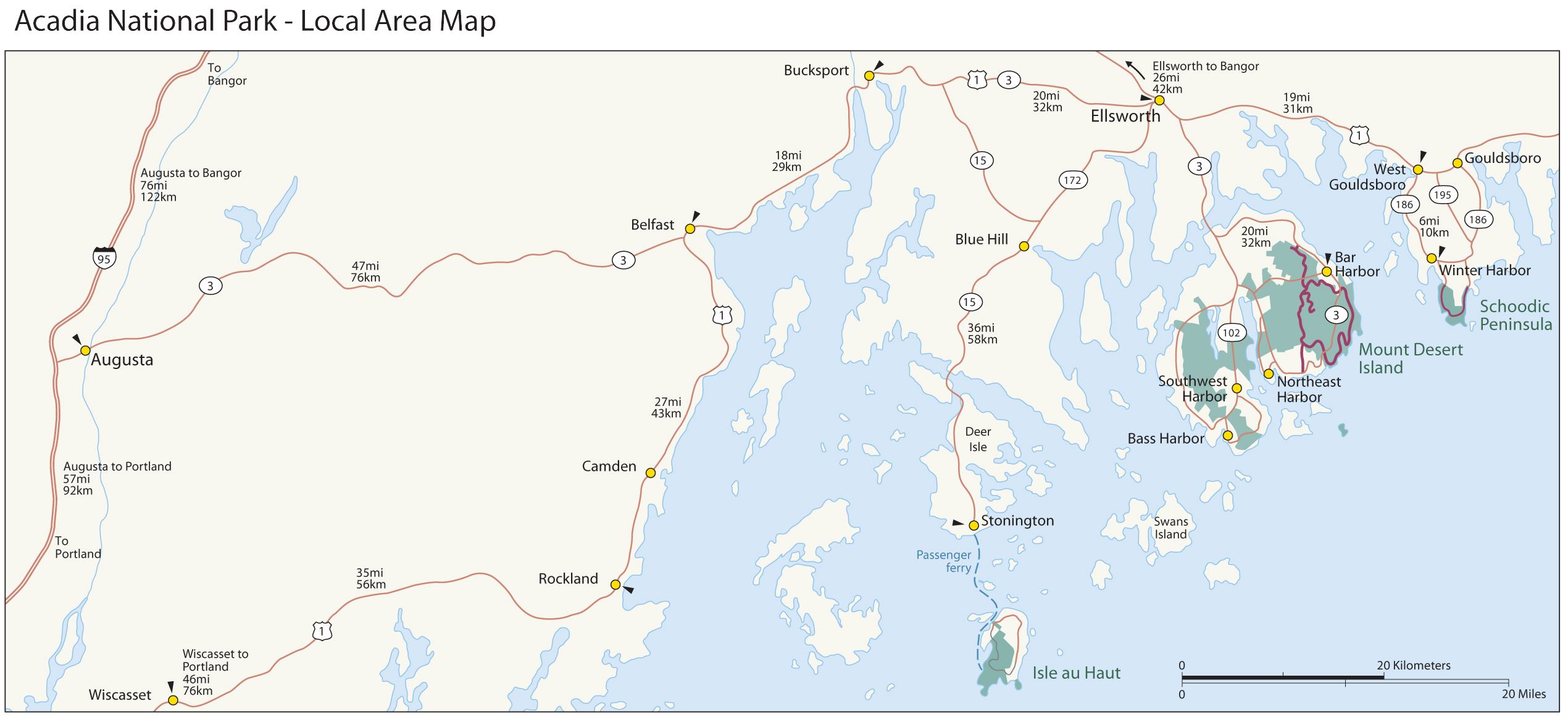 Maps Acadia National Park U S National Park Service