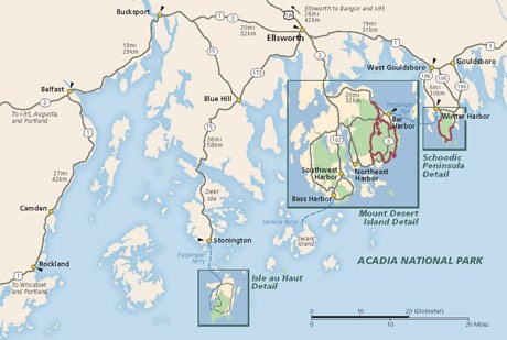 Map of area surrounding Acadia National Park
