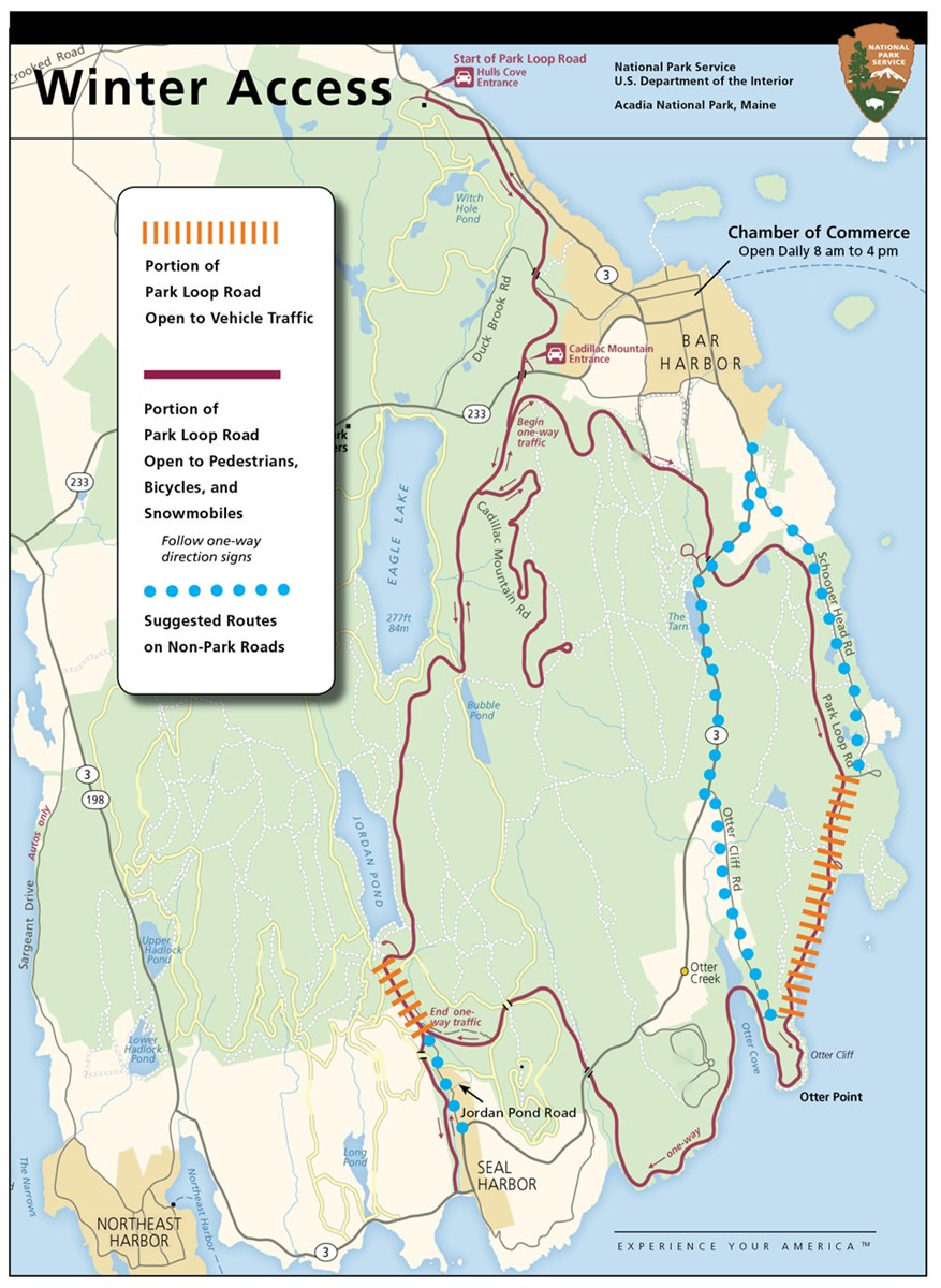 Map of Park Loop Road access in winter