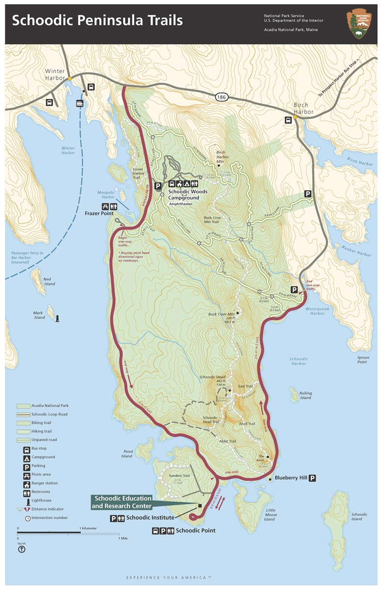 map of Schoodic Peninsula Trails