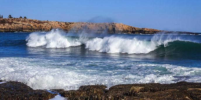 Waves crashing off Schoodic Point.