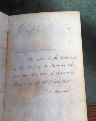 Charles Francis Adams's inscription in the Book of Mormon