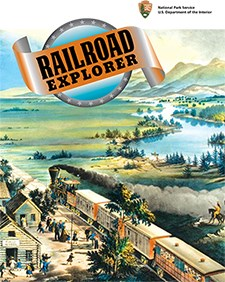 "Historical mock up of a train going through a western town.  Image states ""Railroad Explorer"" on the top."