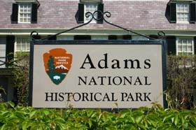 Adams National Historical Park sign welcomes visitors to the Old House