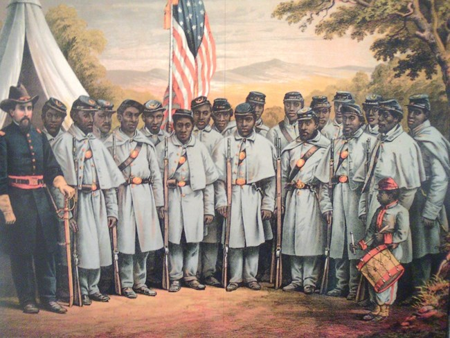 USCT Regiment and Union Officer