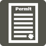 a white square with the word permit on top