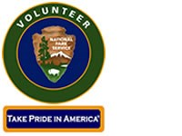 Volunteer in Parks patch with park service arrowhead in middle