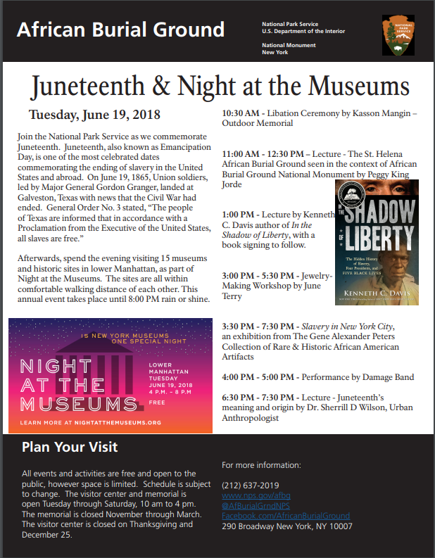 A flier describing events for 2018 Juneteenth and Night at the Museums events.