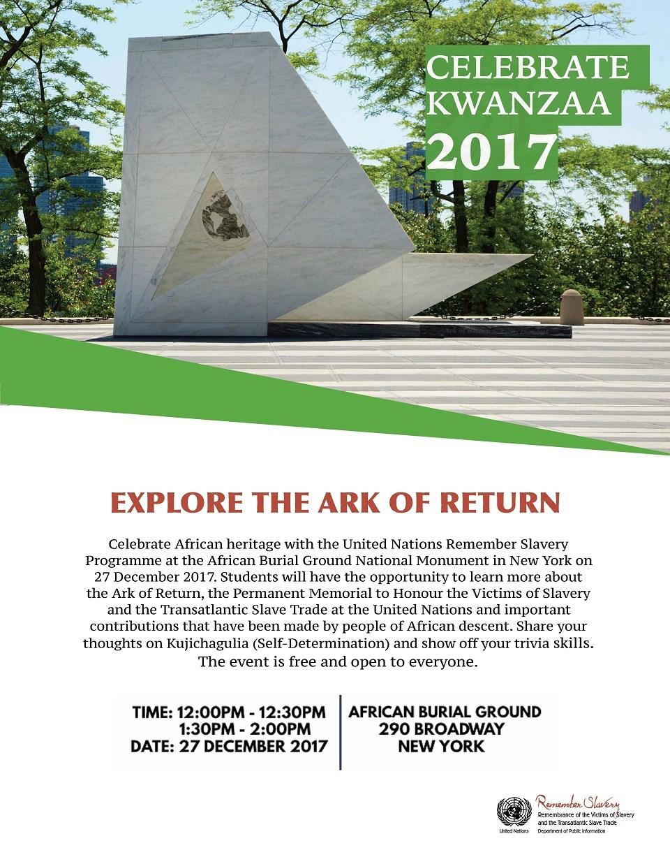 celebrating kwanzaa african burial ground national monument u s