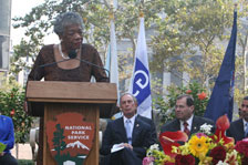 Maya Angelou at podium, Mayor Bloomberg, Nadler October 2003 ceremony