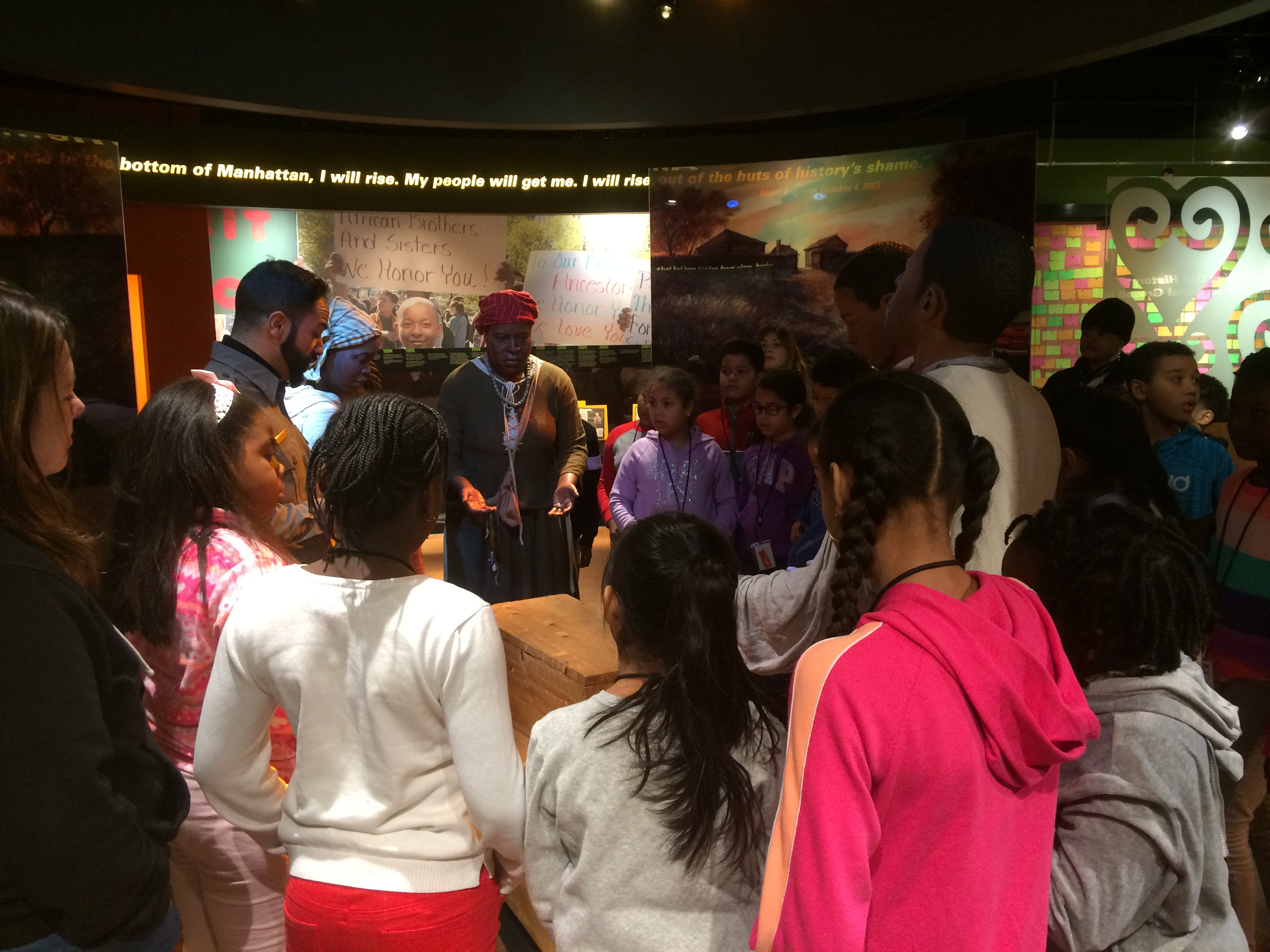 Students in visitor center